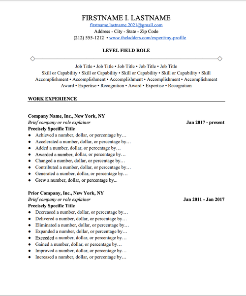 Free Resume Templates Downloads – Easy Resume Examples | Ladders