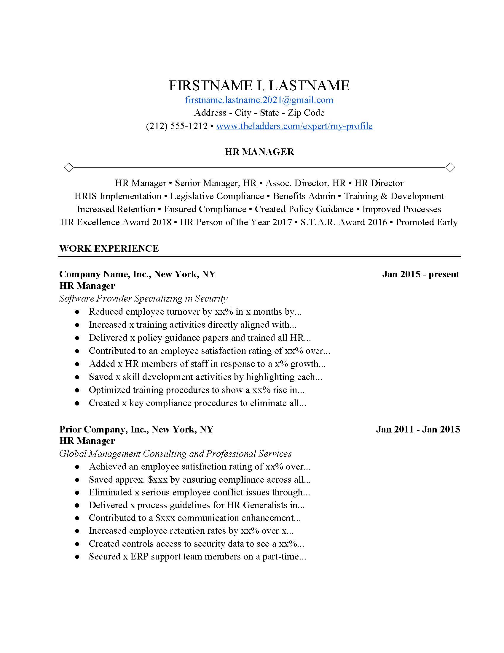 hr manager resume example  free download