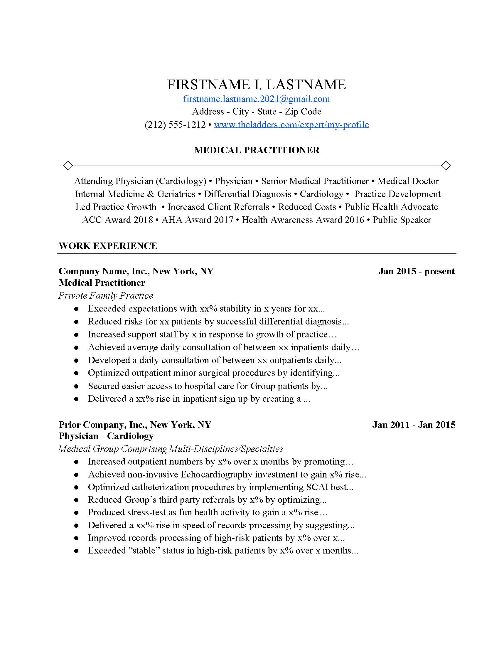 medical practitioner resume example  free download