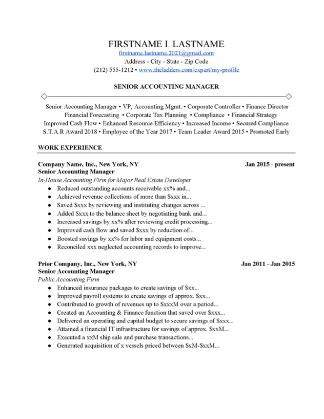 Senior Accounting Manager Resume Example Free Download