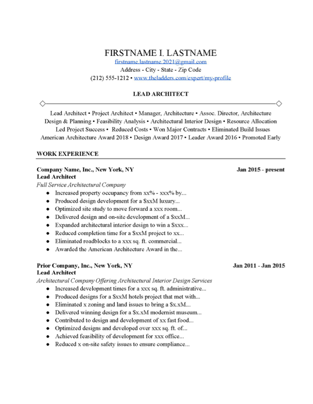Lead Architect Resume Example Free Download