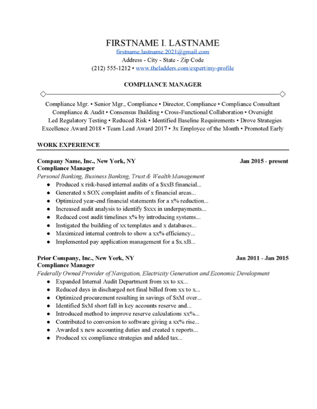 Compliance Manager Resume Example Free Download