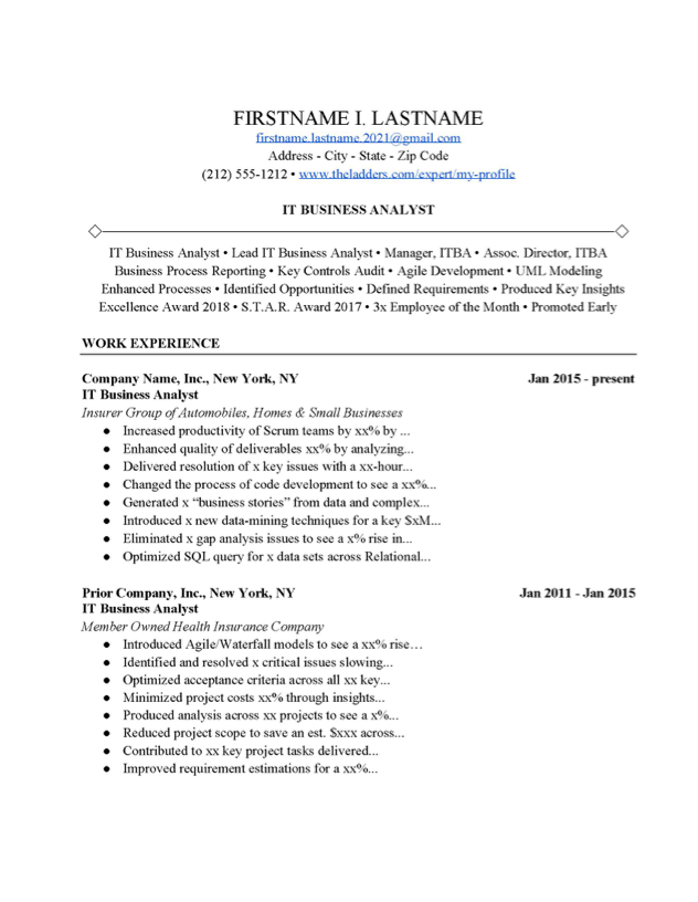 It Business Analyst Resume Example Free Download