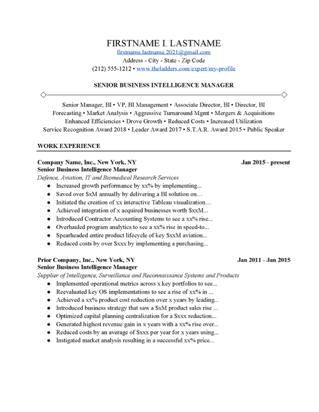 Business Intelligence Manager Resume Example Free Download