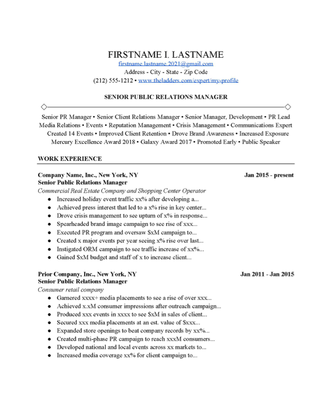 Public Relations Cover Letter from www.theladders.com