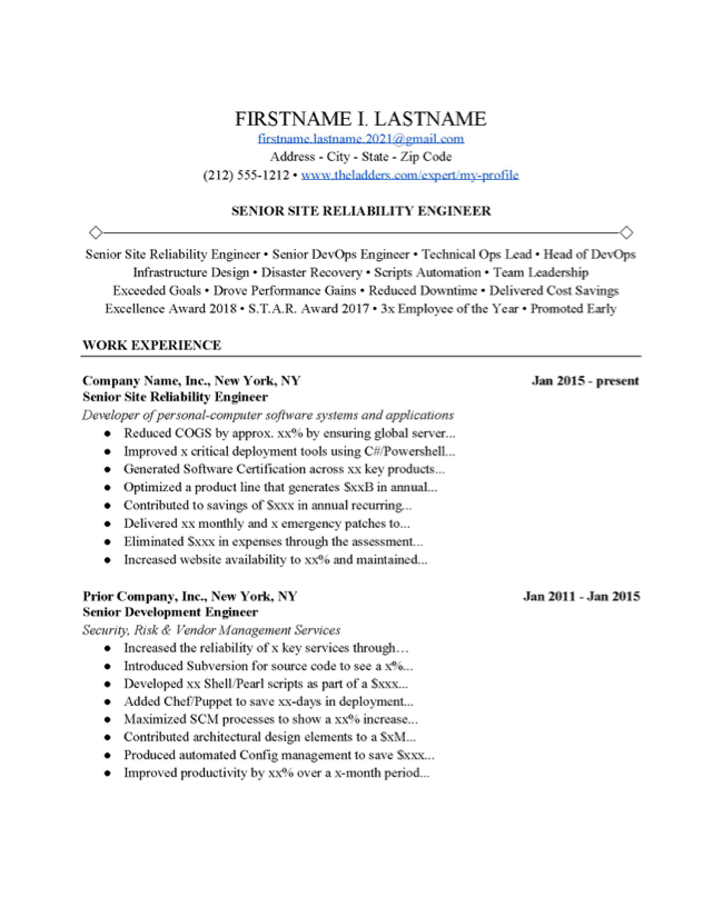 Site Reliability Engineer Resume Example Free Download