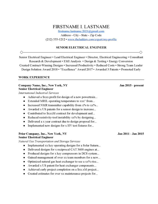 Senior Electrical Engineer Resume Example Free Download