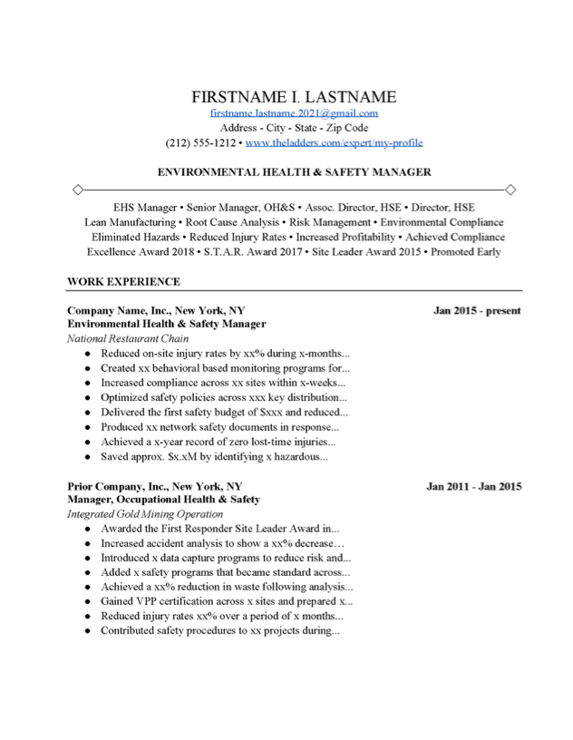 Environmental Health And Safety Manager Resume Example Free