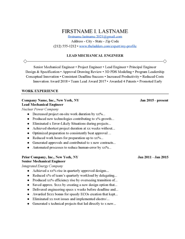 Lead Mechanical Engineer Resume Example Free Download