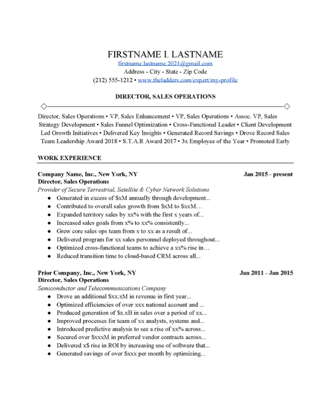 Sales Resume Template from www.theladders.com