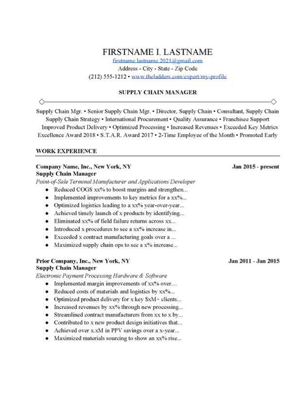 Supply Chain Manager Resume Example Free Download