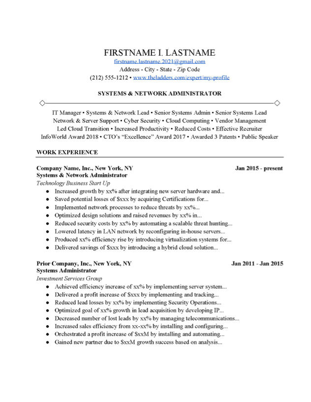 Senior network administrator resume how to write a paper in mla format on google docs