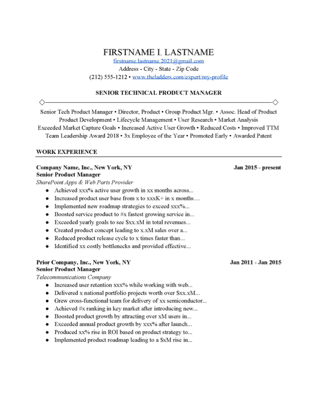 Technical Product Manager Resume Example Free Download