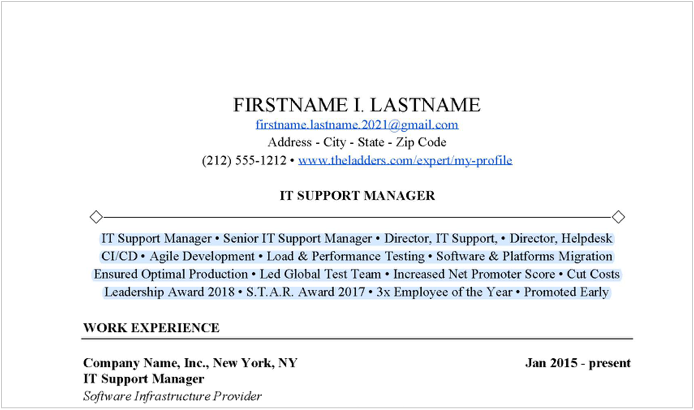 It Support Manager Resume Example Free Download