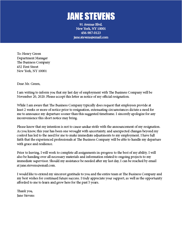 2020 Giving short notice resignation letter template - Ladders News