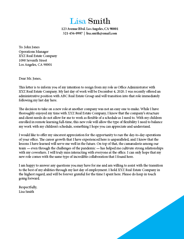 New job resignation letter template - Ladders News