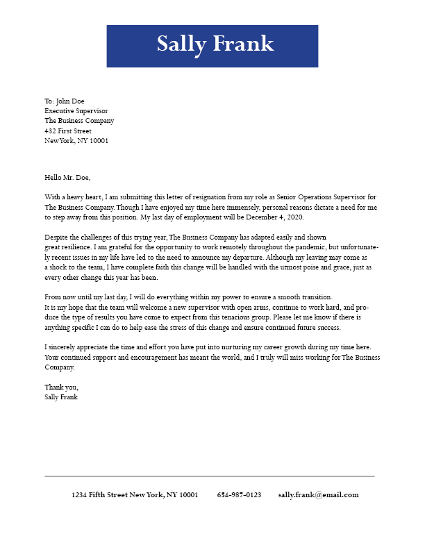 Leaving for personal reasons resignation letter template - Ladders News