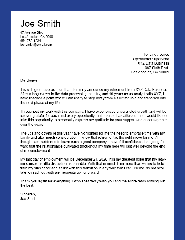 Retirement resignation letter template - Ladders News
