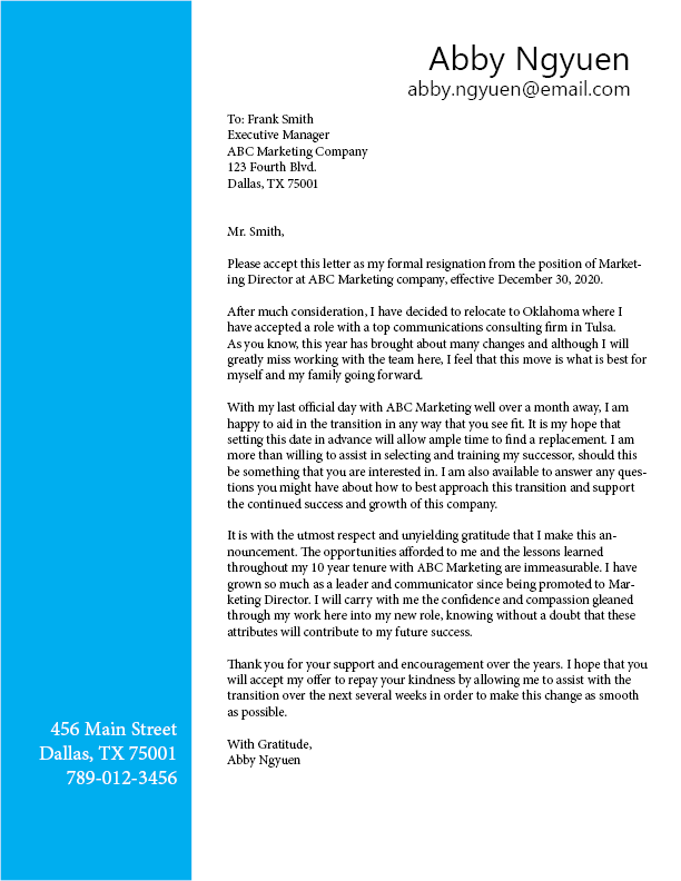Offering to help with transition/training replacement resignation letter template - Ladders News