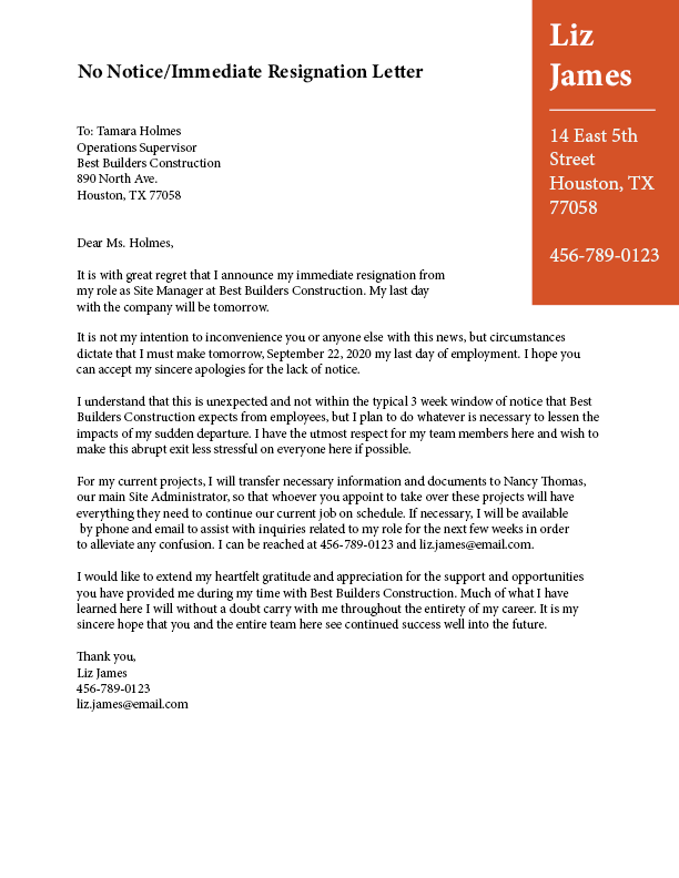 Letter Of Resignation With Regret from www.theladders.com