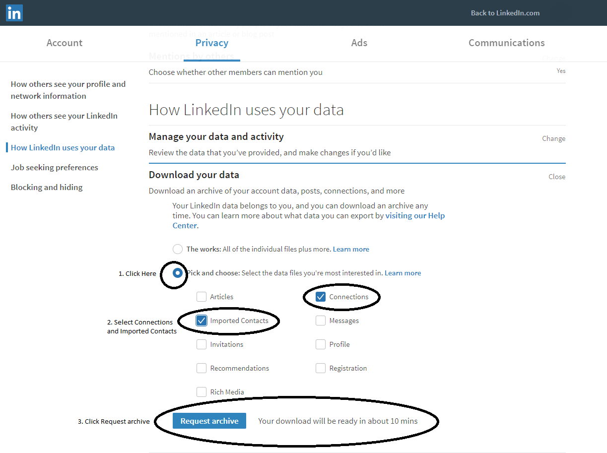 Online contacts and how LinkedIn uses your data image