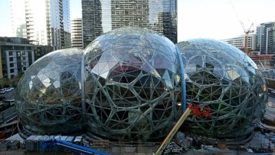 Amazon introduces giant treehouse 'spheres' to relax employees