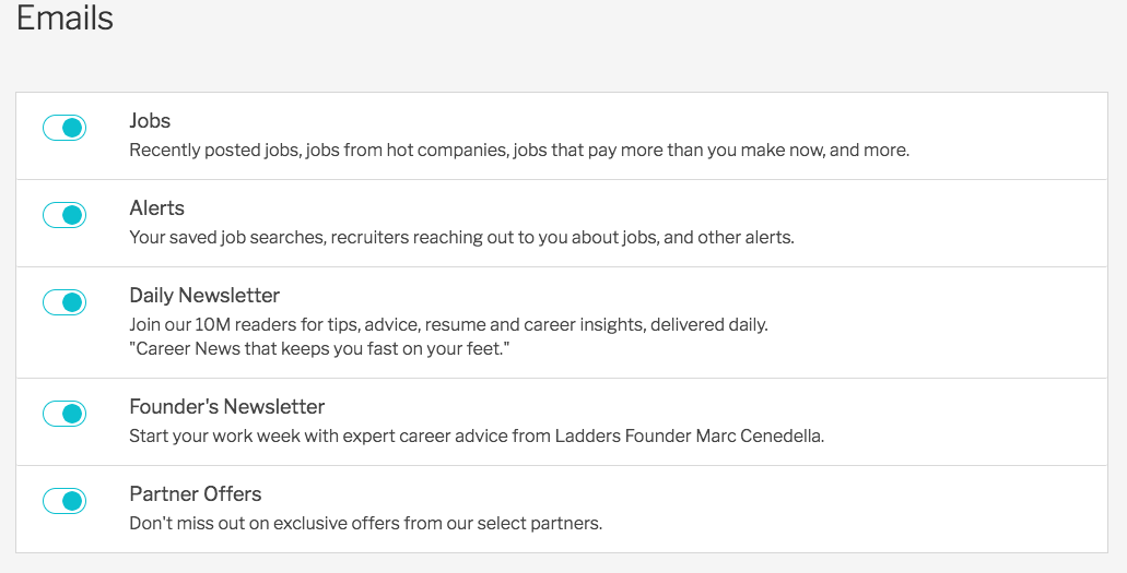 Image of Ladders job search emails check box for members