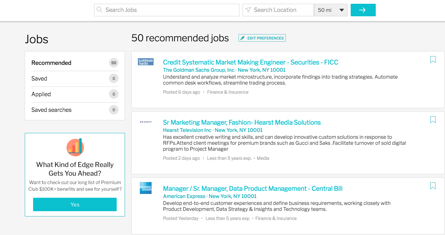 Top three results shown as they would appear on Ladders' job search page.