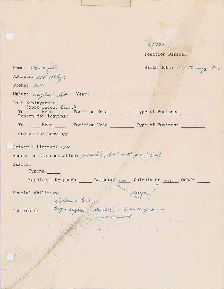 This Steve Jobs 1973 Job Application Was So Bad You Literally Wont