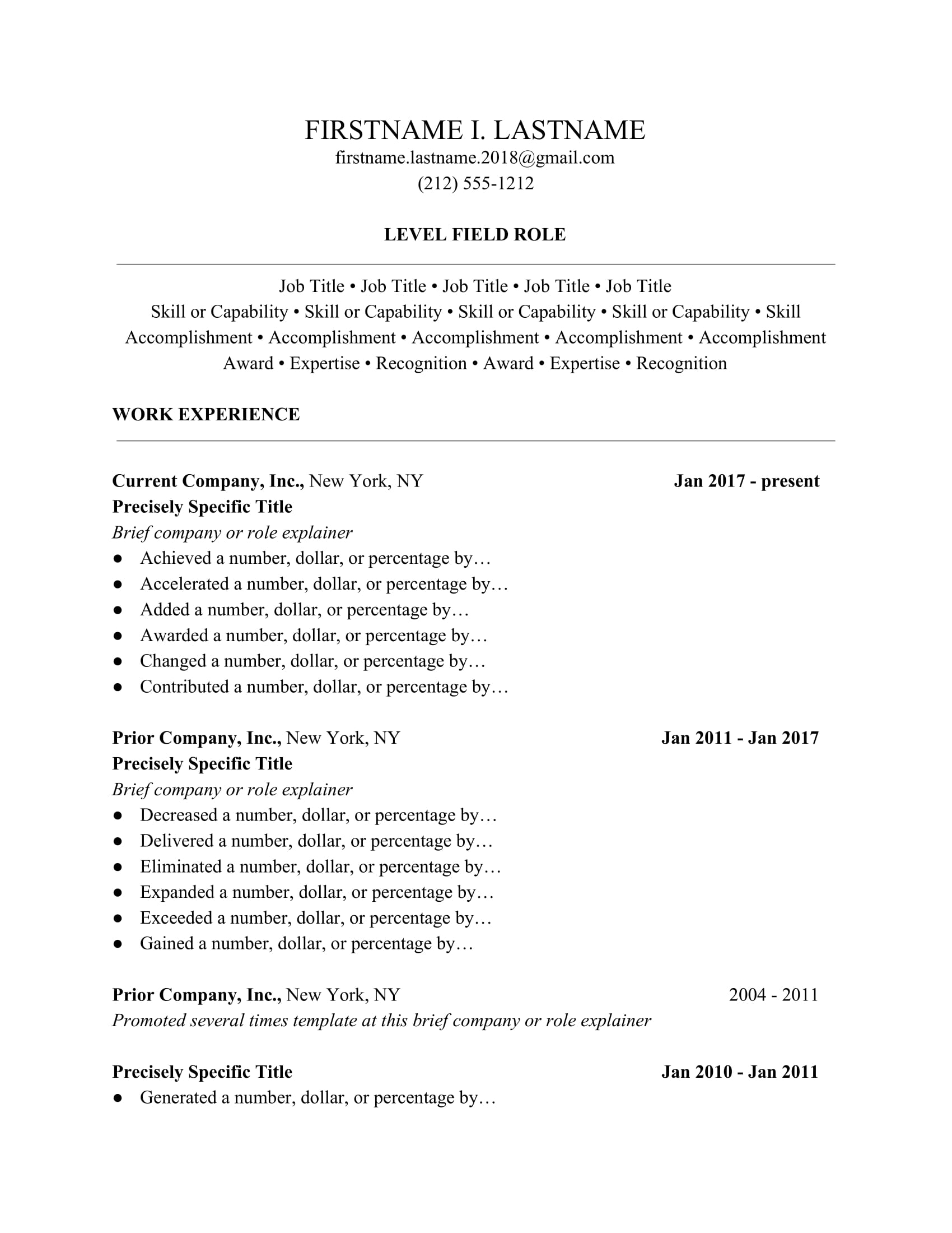 Ladders 2020 Resume Guide Professional Resume Templates