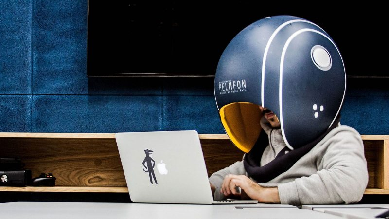 helmfon a ridiculous looking helmet helps tune out work noise