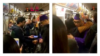 Subway riders throw amazing party for a graduate stuck on rush-hour train