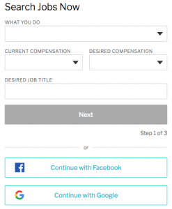 Image of Ladders' job search information box for targeted job search.