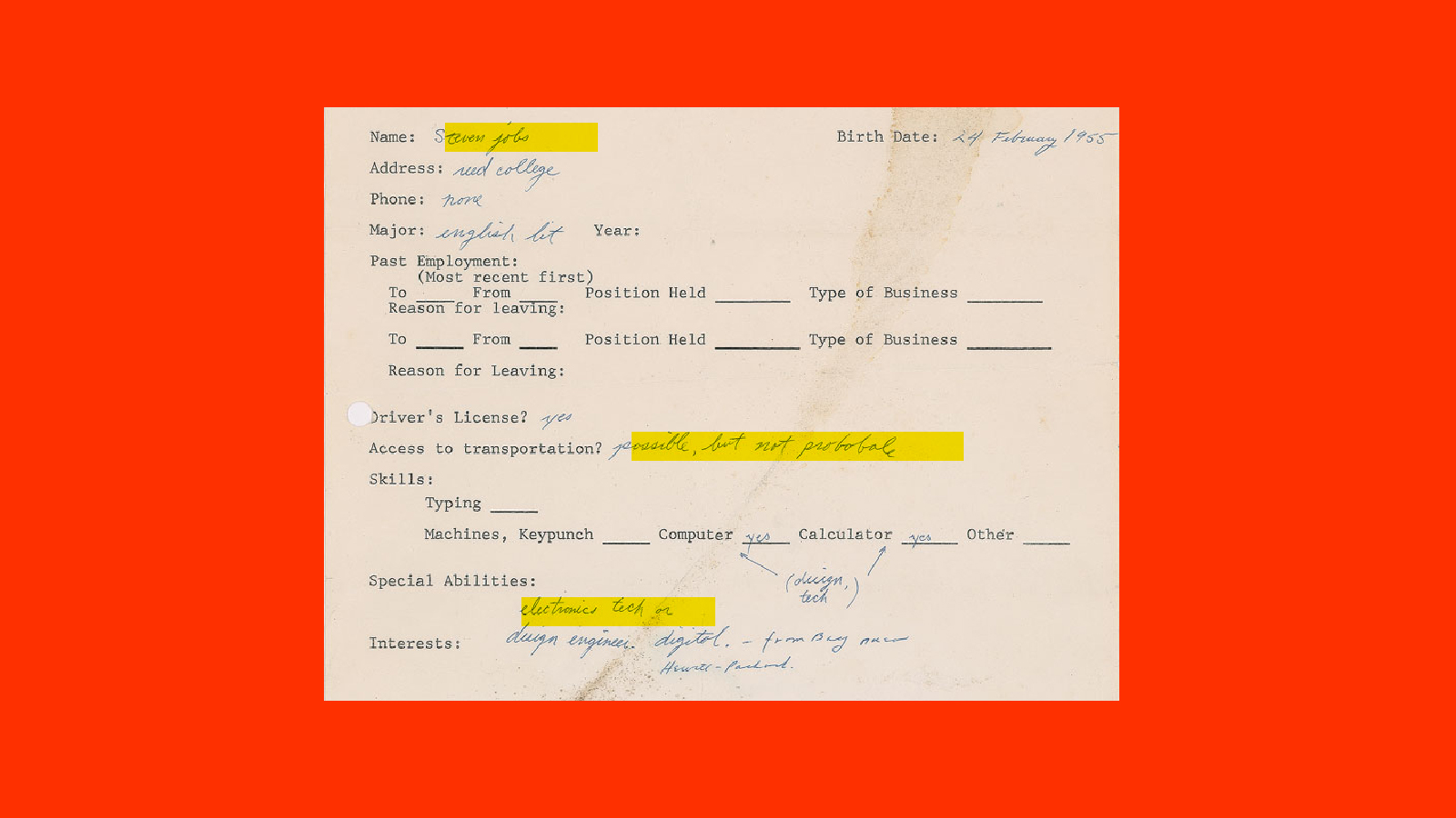 This Steve Jobs 1973 Job Application Was So Bad You Literally Won T