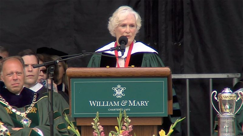 Glenn Close reveals how she broke out of a cult to attend the College of William & Mary