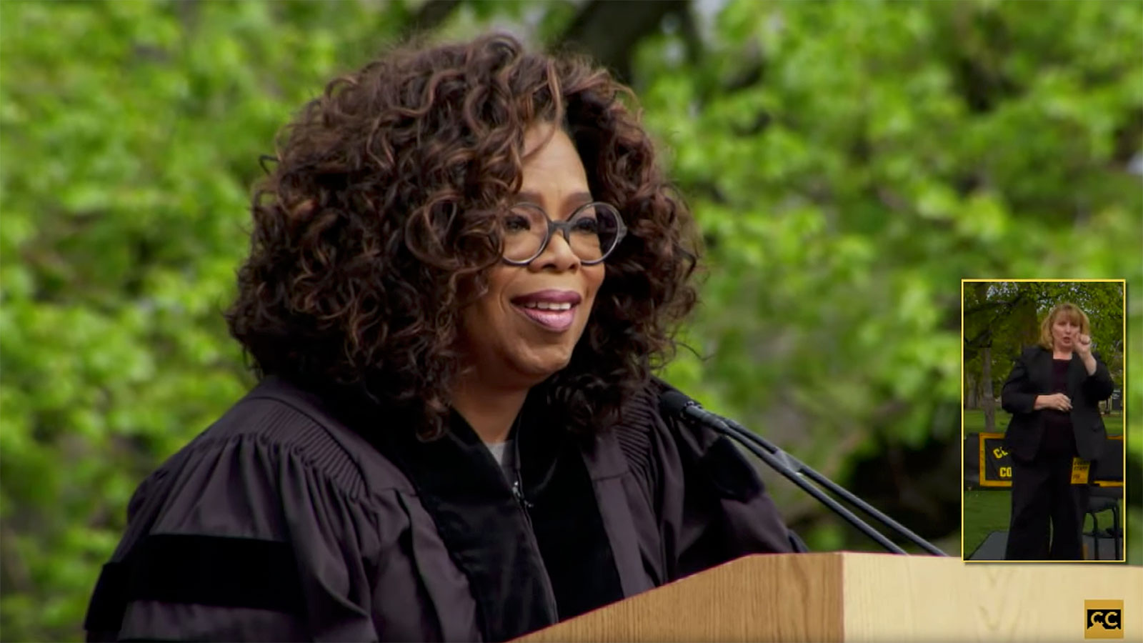 Oprah suggests graduates get a job and floss regularly in commencement address